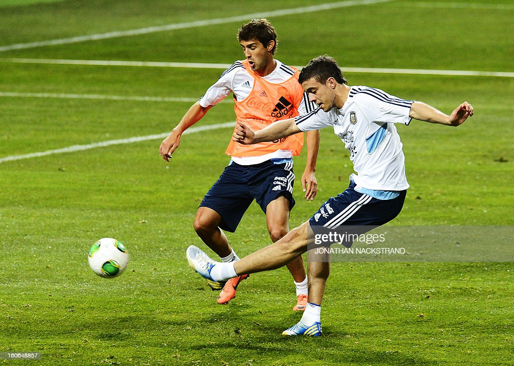 Players take part in a training session of the Argentina national football team at the 'Friends Arena' in Stockholm, Sweden, on February 4, 2013 two days before the FIFA World Cup 2014 friendly match Sweden vs Argentina.