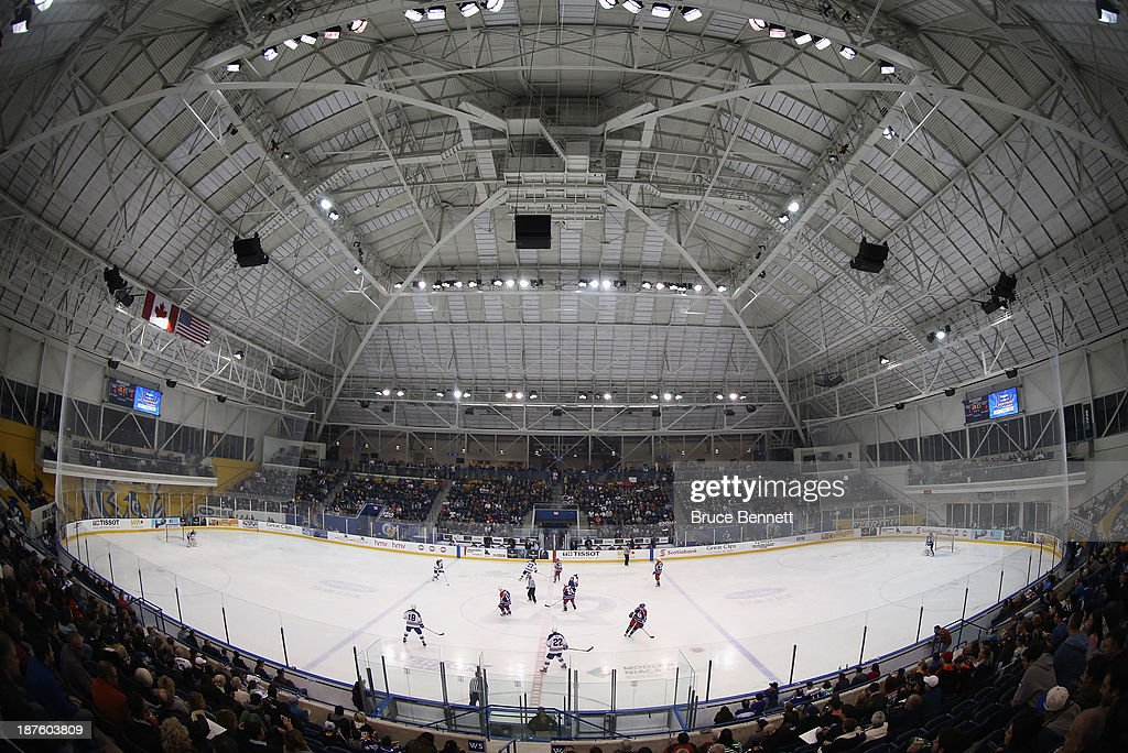 Players take part in the 2013 Hockey Hall of Fame Legends Classic game at the Mattamy Athletic Center on November 10, 2013 in Toronto, Canada. The site is was the former home of Maple Leaf Gardens.