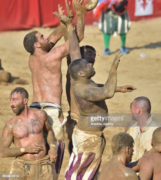 Players take part in the final match of the tournament to Calcio Storico Fiorentino between Santa Maria Novella and Saint Spirit at Piazza Santa...