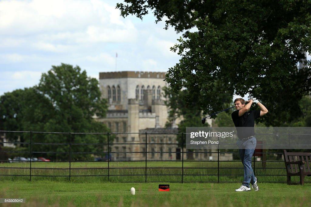 Players tee off during the PGA Fourball Qualifier at Ashridge Golf Club on June 27, 2016 in Ashridge, England.