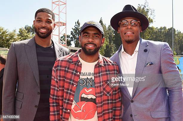 NBA players Tristan Thompson and Kyrie Irving and NFL player Cam Newton attend the Nickelodeon Kids' Choice Sports Awards 2016 at UCLA's Pauley...