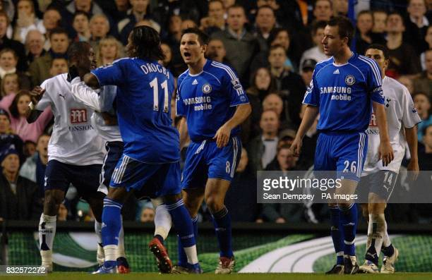 Players tussle prior to John Terry's sending off
