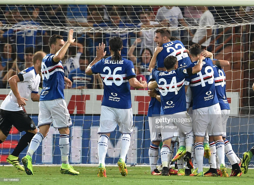Player's UC Sampdoria celebration afetr goal 21 Edgar Barreto during the Serie A match between UC Sampdoria and Atalanta BC at Stadio Luigi Ferraris...
