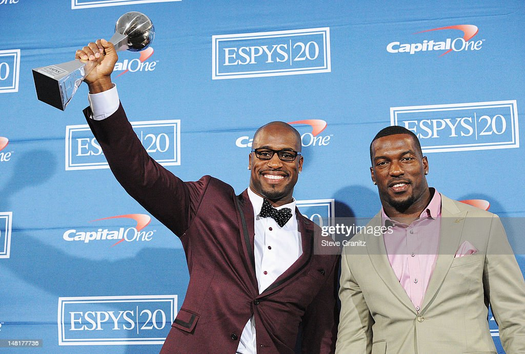 NFL players Vernon Davis and Patrick Willis of the San Francisco 49ers pose in the press room during the 2012 ESPY Awards at Nokia Theatre LA Live on...