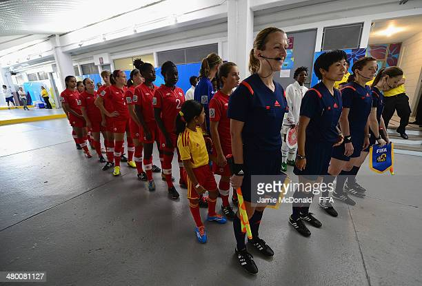 Players wait in the tunnel during the FIFA U17 Women's World Cup Group B match between Canada and Ghana at Ricardo Saprissa Ayma on March 22 2014 in...