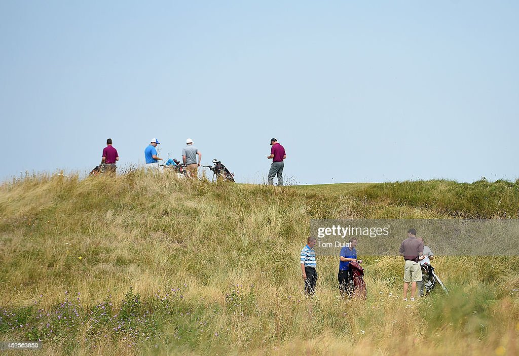 Players wait on the tees during the Lombard Trophy West Regional Qualifier at Burnham and Berrow Golf Club on July 23, 2014 in Burnham-on-Sea, England.