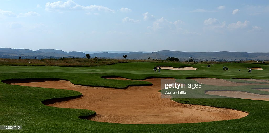Players walk down the 10th fairway during the first round of the Tshwane Open at Copperleaf Golf & Country Estate on February 28, 2013 in Centurion, South Africa.