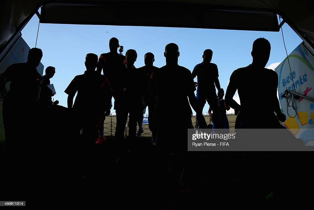 Players walk down the tunnel prior to the 2014 FIFA World Cup Brazil Group C match between Colombia and Greece at Estadio Mineirao on June 14, 2014 in Belo Horizonte, Brazil.