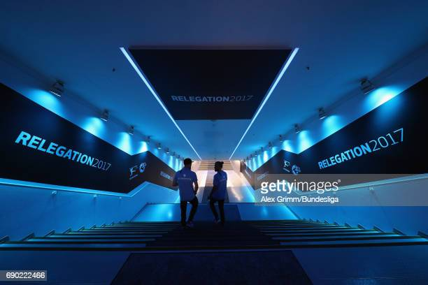 Players walk in the tunnel prior to the 2 Bundesliga Playoff leg 2 match between 1860 Muenchen and Jahn Regensburg at Allianz Arena on May 30 2017 in...