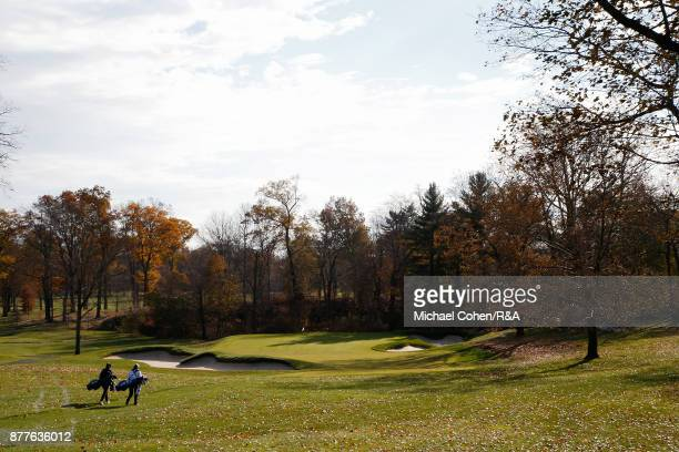 Players walk on the 13th hole during Curtis Cup practice at Quaker Ridge GC on November 22 2017 in Scarsdale New York