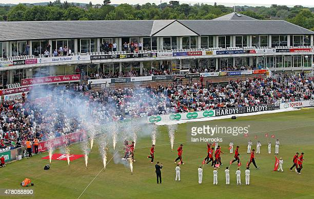Players walk on to the pitch for the NatWest T20 Blast match between Durham Jets and Worcestershire Rapids at The Emirates Durham ICG on June 12 2015...