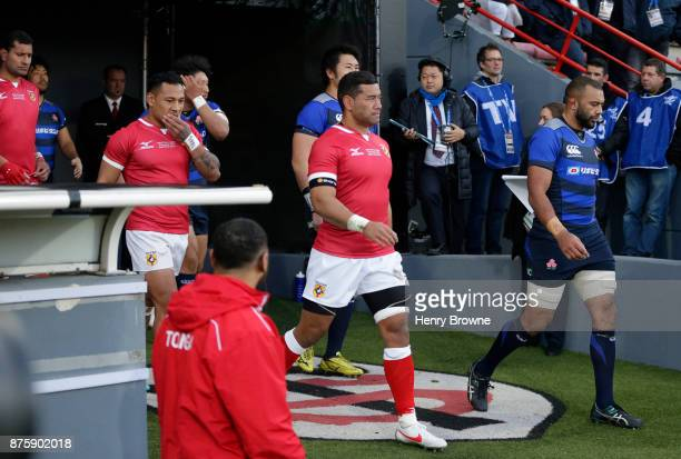 Players walk onto the pitch the international match between Japan and Tonga at Stade Ernest Wallon on November 18 2017 in Toulouse Kanagawa France