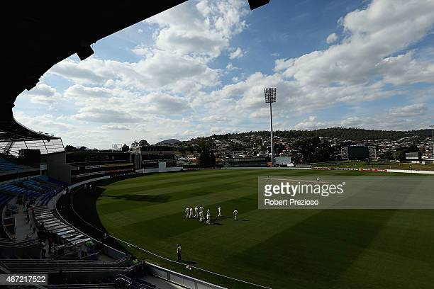 Players walk out onto the ground during day two of the Sheffield Shield final match between Victoria and Western Australia at Blundstone Arena on...