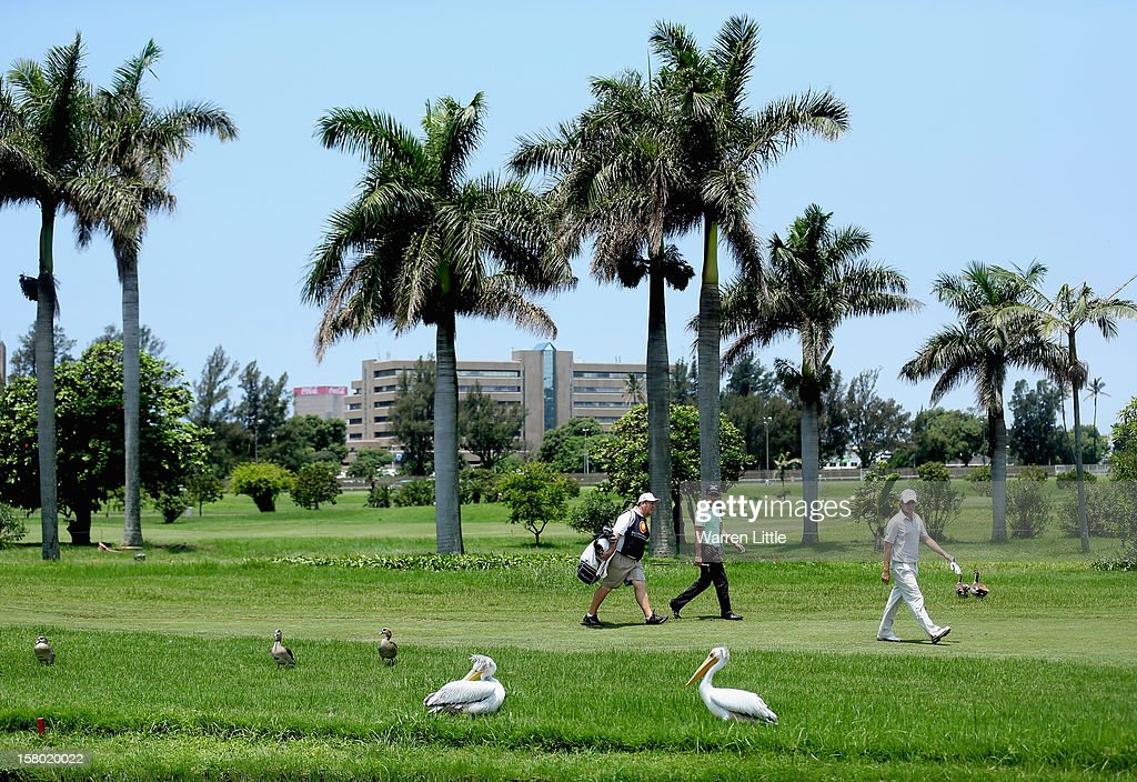 Players walk past pelicans during the second round of The Nelson Mandela Championship presented by ISPS Handa at Royal Durban Golf Club on December 9, 2012 in Durban, South Africa.