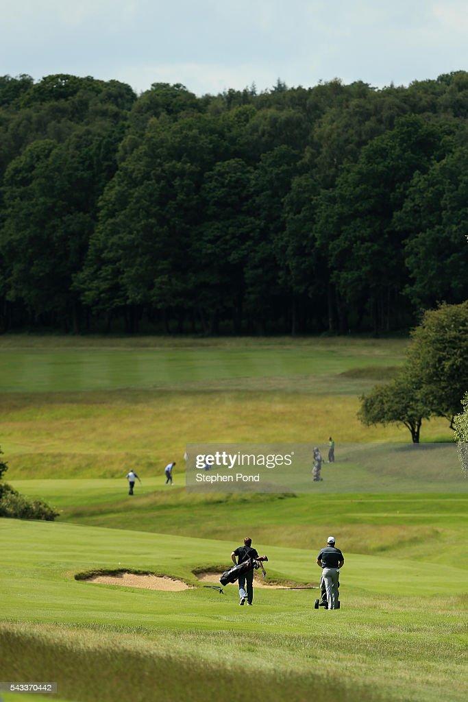 Players walk the course during the PGA Fourball Qualifier at Ashridge Golf Club on June 27, 2016 in Ashridge, England.