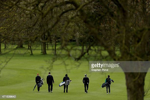 Players walk the first fairway during the Galvin Green PGA Assistants Championship East Region Qualifier at Haverhill Golf Club on April 29 2015 in...