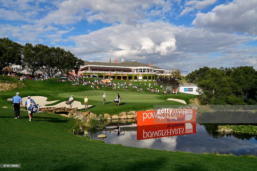 Players walk to the 18th green during the second round for the PGA TOUR Champions PowerShares QQQ Championship at Sherwood Country Club on October 29, 2016 in Thousand Oaks, California.