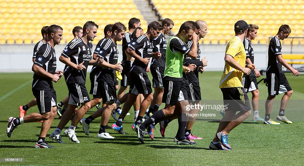 Players warm down during a Wellington Phoenix A-League training session at Westpac Stadium on February 26, 2013 in Wellington, New Zealand.
