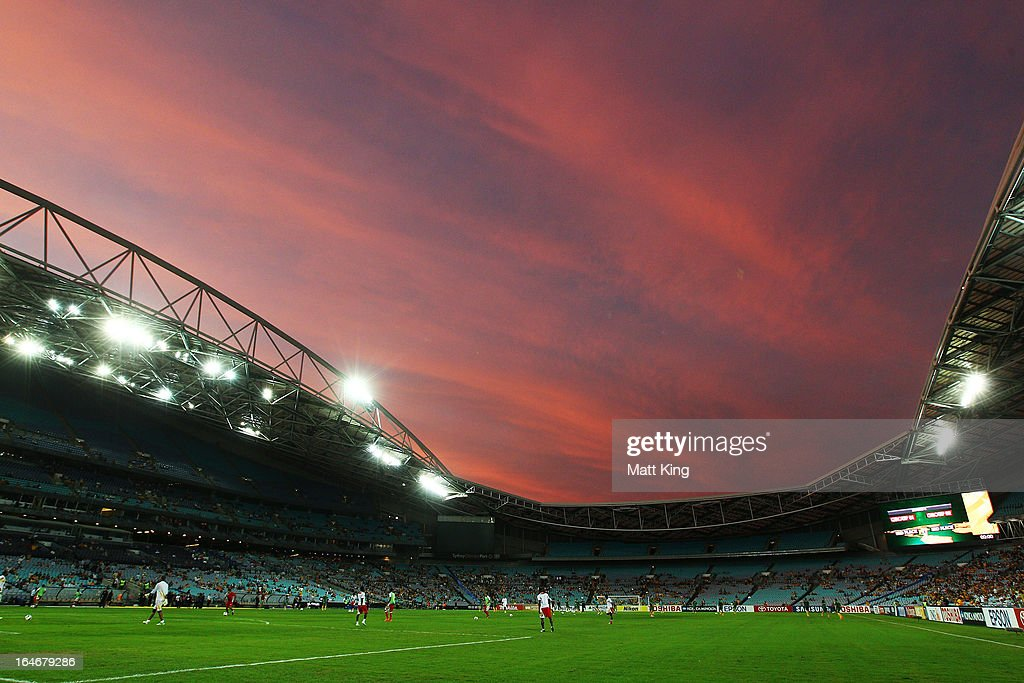 Players warm up before the FIFA 2014 World Cup Qualifier match between the Australian Socceroos and Oman at ANZ Stadium on March 26, 2013 in Sydney, Australia.