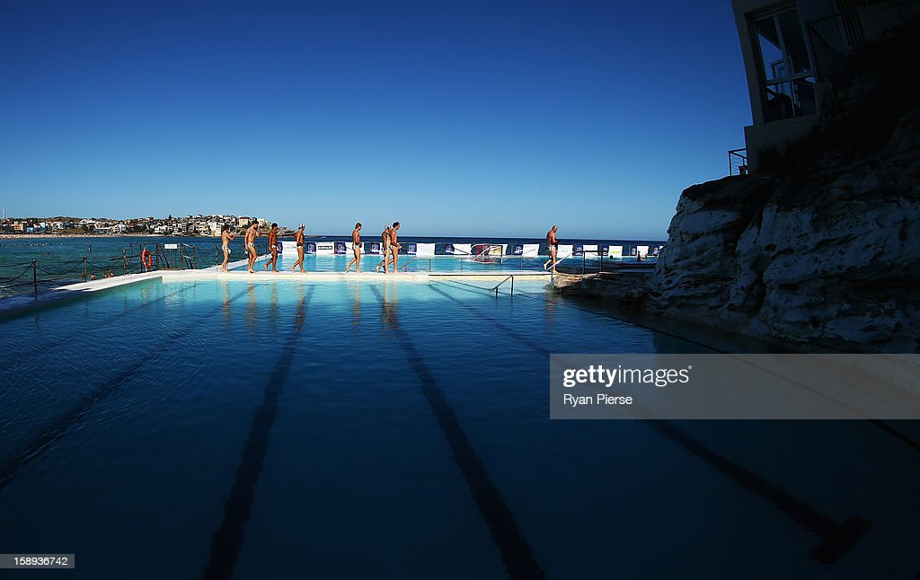 Players warm up before the Water Polo by the Sea match between Sydney University Lions and UNSW Wests at Bondi Icebergs, Bondi Beach on January 4, 2013 in Sydney, Australia.
