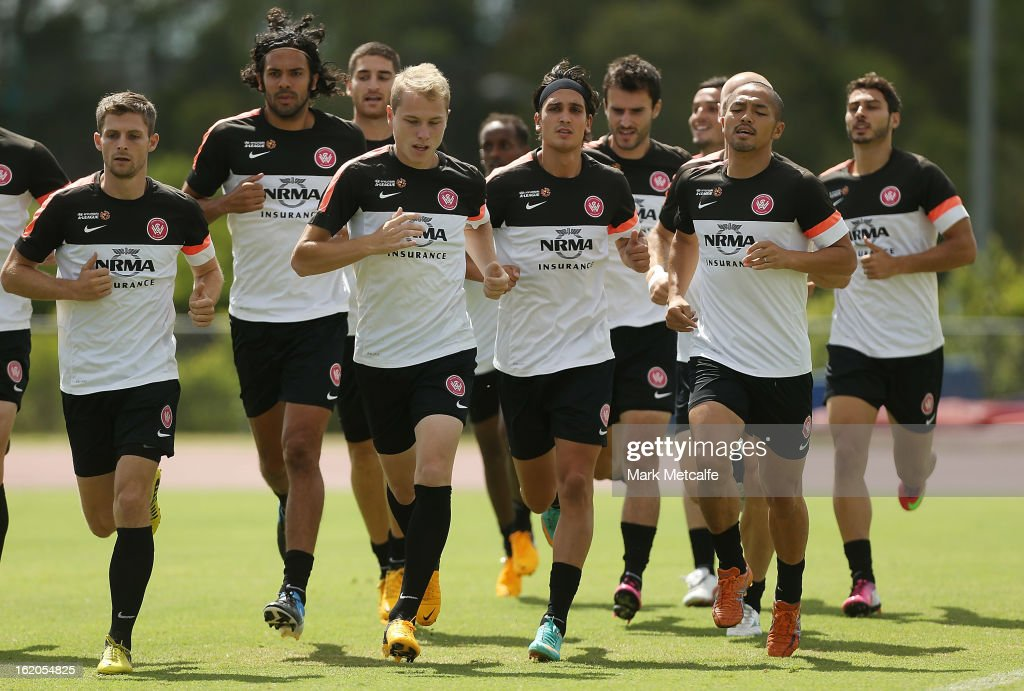 Players warm up during a Western Sydney Wanderers A-League training session at Blacktown International Sportspark on February 19, 2013 in Sydney, Australia.