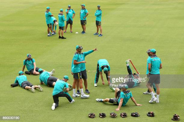 Players warm up during an Australian nets session at WACA on December 11 2017 in Perth Australia