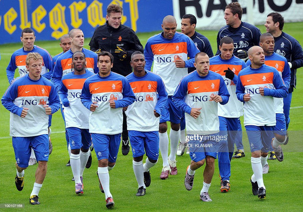 Players warm up during the Dutch national football team's first practice at their training camp in Tyrolian village in Seefeld on 20 May, 2010, prior to the FIFA World cup 2010 in South Africa.