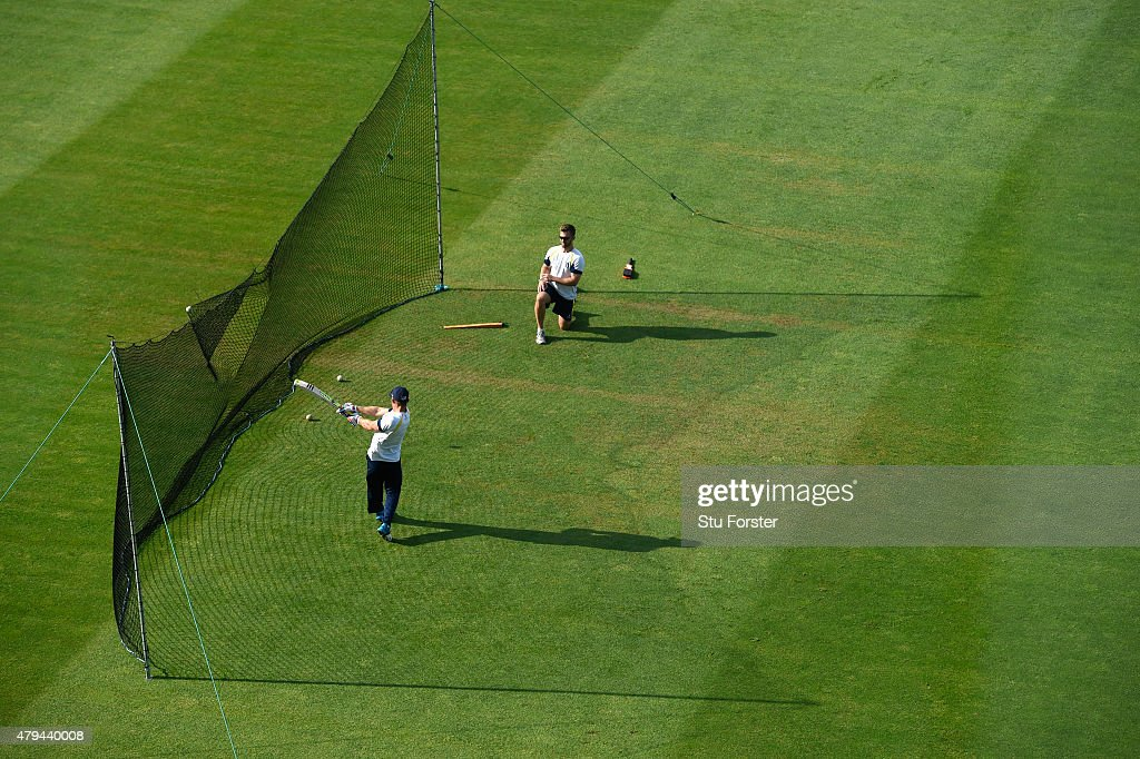 Players warm up in the nets with some batting practice before the NatWest T20 Blast match between Birmingham Bears and Derbyshire Falcons at...