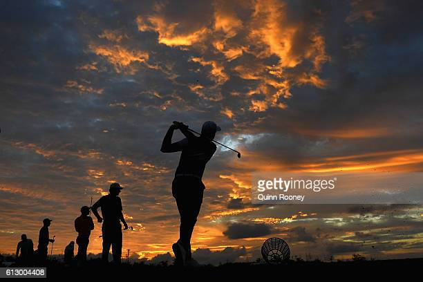 Players warm up on the driving range during day two of the 2016 Fiji International at Natadola Bay Golf Course on October 7 2016 in Natadola Fiji