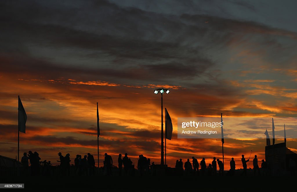 Players warm up on the driving range during the second round of the Portugal Masters at Oceanico Victoria Golf Club on October 16 2015 in Albufeira...