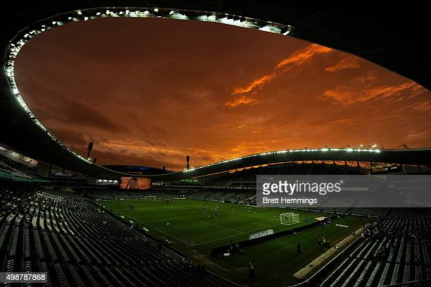Players warm up on the field prior to the round eight ALeague match between Sydney FC and Wellington Phoenix at Allianz Stadium on November 26 2015...