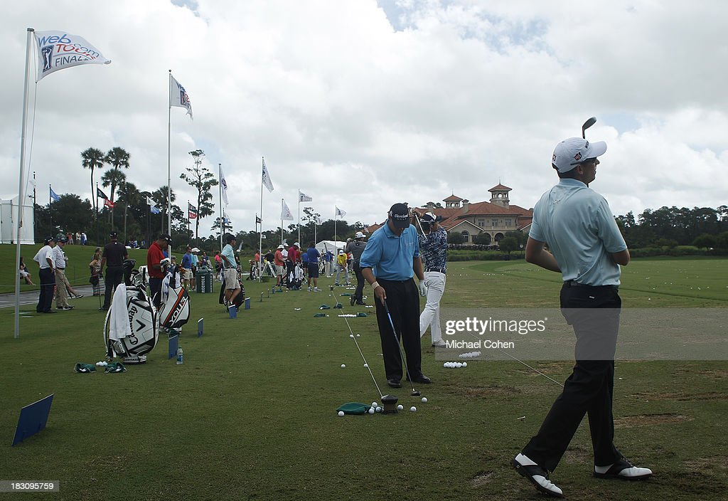 Players warm up on the range during the final round of the Web.com Tour Championship held on the Dye's Valley Course at TPC Sawgrass on September 29, 2013 in Ponte Vedra Beach, Florida.
