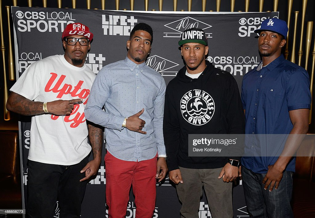 NFL players <a gi-track='captionPersonalityLinkClicked' href=/galleries/search?phrase=Will+Hill&family=editorial&specificpeople=5514116 ng-click='$event.stopPropagation()'>Will Hill</a>, Marcus Harris and Julian Kelly attend CBS Local Sports' Draft Party on May 8, 2014 in New York City.