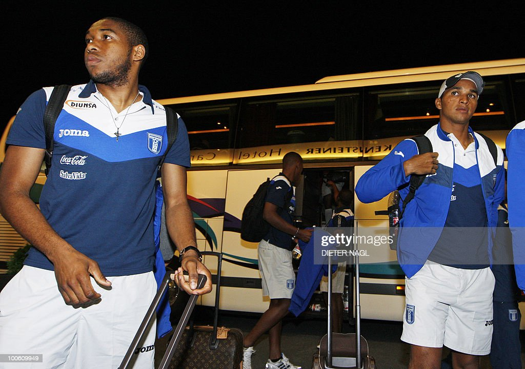 Players Wilson Palacios(L) and Donis Escober (R) of the Honduras National Football team arrive at the team hotel on May 25, 2010 in Troepolach some 420 kilometers south west from Vienna for training ahead of the FIFA World Cup 2010 to be held in South Africa.