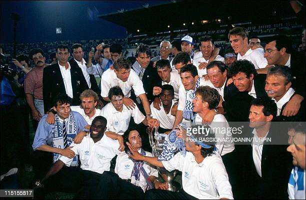 OM players winners of the European Champions Cup back to Marseille in Marseille France on May 27 1993 Bernard Tapie and OM players
