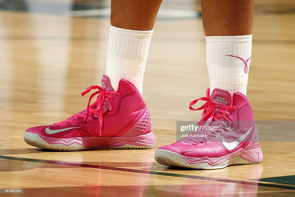 Players wore pink sneakers for the Play 4Kay Initiative for breast cancer awareness during the game between the Miami Hurricanes and the Florida State Seminoles on February 10, 2013 at the BankUnited Center in Coral Gables, Florida. The Seminoles defeated the Hurricanes 93-78.