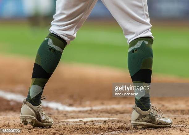Players wore socks with a camouflage design in honor of Memorial Day during the MLB game between the Baltimore Orioles and Houston Astros on May 28...