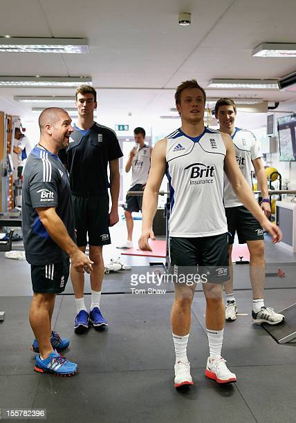 Players work out in the gym during the ECB England Performance Programme Training session at Loughborough University on November 8 2012 in...