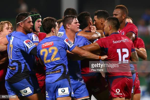 Players wrestle during the round two Super Rugby match between the Western Force and the Reds at nib Stadium on March 2 2017 in Perth Australia