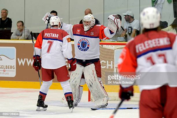 Players Yunost Minsk after the Champions Hockey League match between BK Mlada Boleslav and Yunost Minsk at SKOEnergo Arena on September 6 2016 in...
