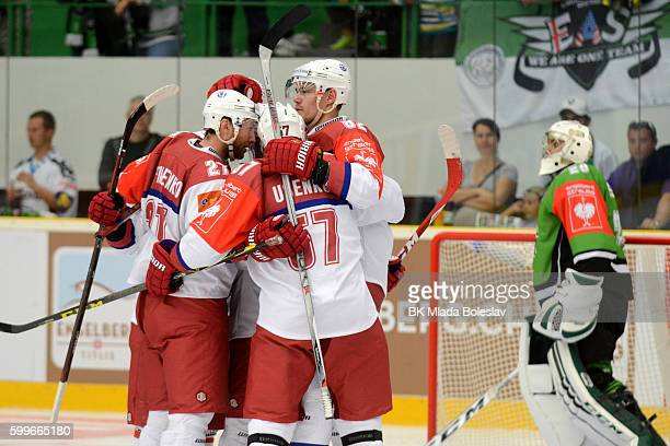 Players Yunost Minsk during the Champions Hockey League match between BK Mlada Boleslav and Yunost Minsk at SKOEnergo Arena on September 6 2016 in...