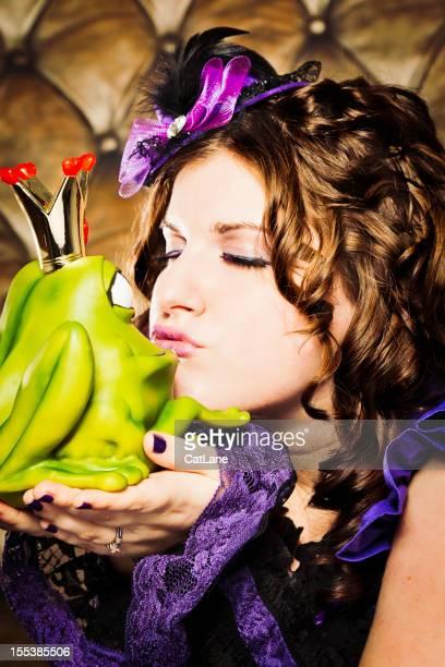Allegro Brunette donna Baciare principe di rana