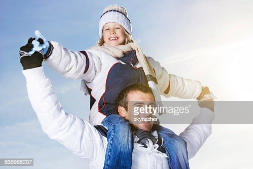 Playful father and son outdoors. : Stock Photo