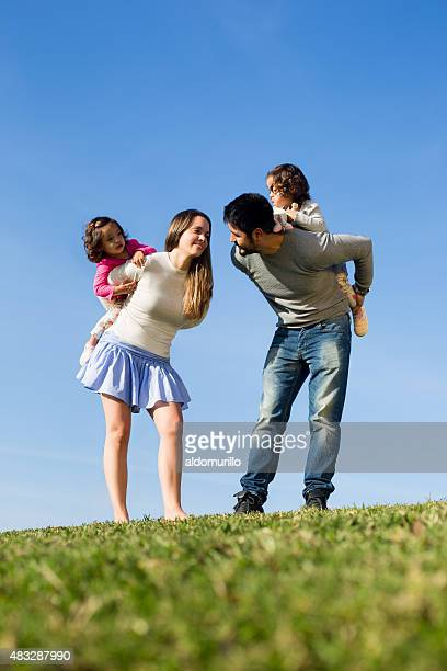 Playful happy family