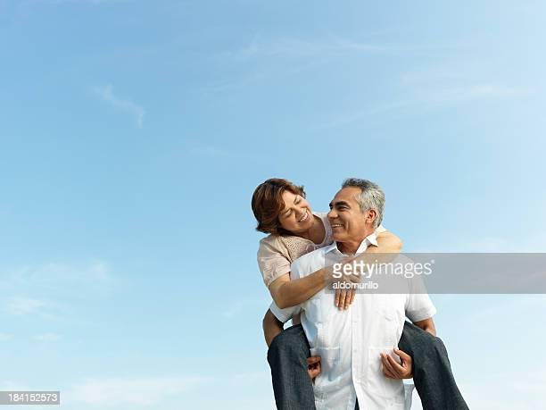 Playful mature couple