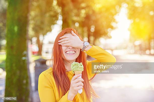 playful with her icecream