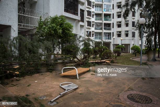 A playground damaged by Typhoon Hato is seen on August 23 2017 in Hong Kong Hong Kong Hong Kong's weather authorities raised Typhoon Hato to No 10...