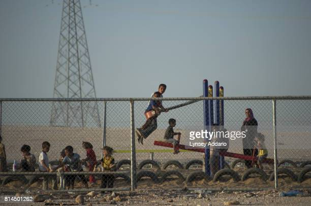 A playground of children in Zaatari camp in Mafraq Province Jordan September 14 2013 There are roughly 120000 Syrian refugees living in the Zaatari...