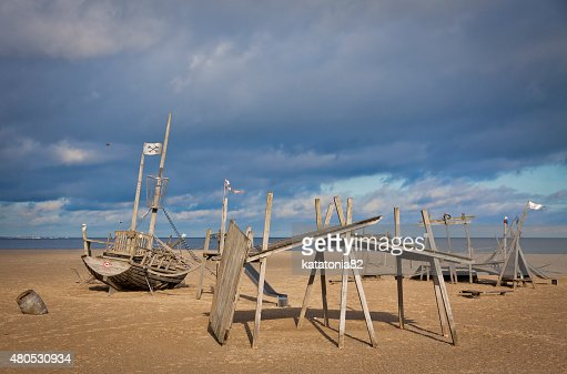 Playground on the beach in Travemuende : Stock Photo