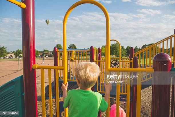 Playground Play structure and a hot air balloon